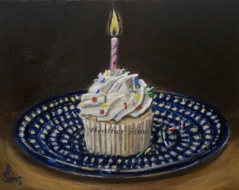 Cupcake art still life print, Polish pottery, birthday art, kitchen decor, Heather Sims. Size Mat OPTION