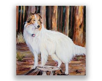 Dog art collie Print for farmhouse decor, white rough Collie art dog decor, woodland animals rustic decor, dog painting, size mat options