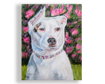 White Pittbull dog art print, dog decor for the animal lover gift idea, veterinarian gift, pink and green, size and matted options
