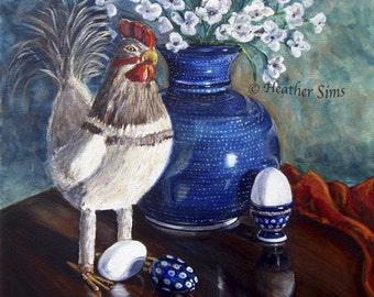 Polish Pottery Vase, Kitchen Wall Art Print, Still Life Painting, Chicken Decor, Size and Mat OPTIONS