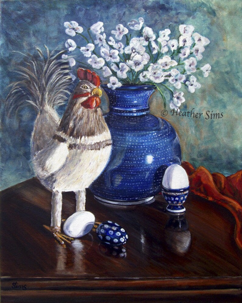 Polish Pottery Vase Kitchen Wall Art Print Still Life image 0