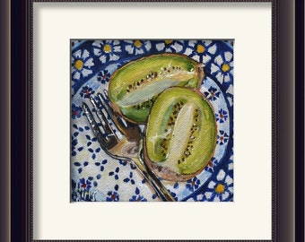 Kiwi fruit kitchen art print, blue and white kitchen decor, food still life painting, Bolelawiec Polish pottery print, colorful wall art