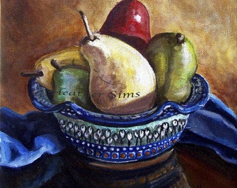 Polish Pottery bowl, Pear fine art giclee print for kitchen decor,signed,  size and mat Option Heather Sims