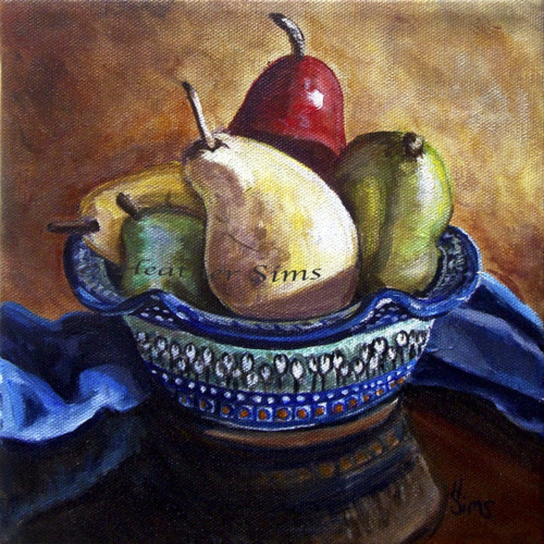 Polish Pottery bowl Pear fine art giclee print for kitchen image 0
