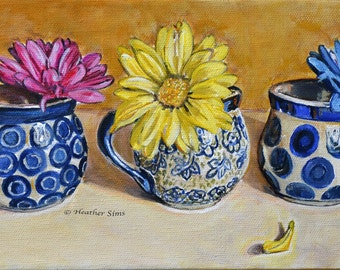 Polish pottery kitchen art print, pottery mug, floral still life art,colorful art, floral print, Kitchen wall art flowers, mat option yellow