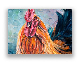 Rooster fine art giclee print, Chicken decor, painting reproduction, farmhouse, wall art, size mat OPTION  Heather Sims