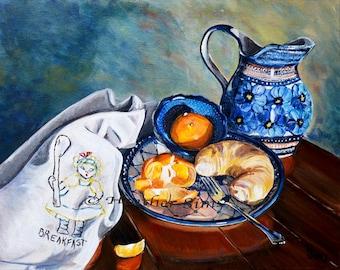 Polish Pottery pitcher, still life art print,food art, kitchen artwork, wall art, giclee, Heather Sims. Size Mat OPTION