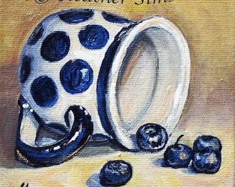 Polish pottery mug rustic kitchen wall decor, blueberries still life art giclee print, kitchen art print, polka dot giclee art, mat OPTION