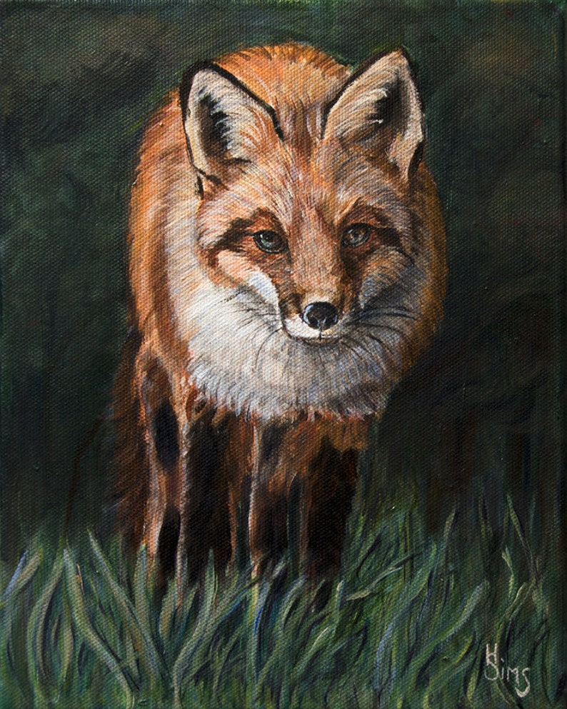 Fox Art Print Farmhouse Wall Decor Woodland Animals image 0