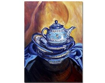 Kitchen Art Print, Polish Pottery Teapot, Still life Painting for Kitchen Artwork Giclee, Yellow Blue Artwork, size mat option