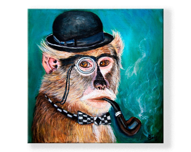Year of the monkey art print of original monkey painting with image 0
