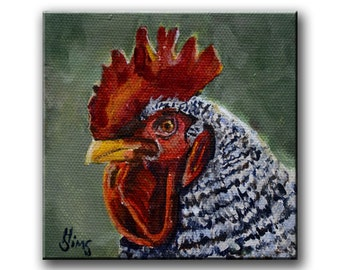 Rooster Painting Wall Art Prints Chicken Decor, Barred Rock Rooster Giclee Kitchen Wall Farmhouse Decor ,Size  Mat OPTION