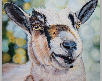 Farmhouse Wall Decor, Blue and Green, Wall Decor, Peppers the Nigerian dwarf goat,  size and matting option