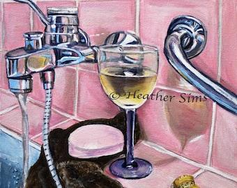 Bathroom art, still life fine art print, wall decor, pink artwork, wine glass, soap, size and mat  option