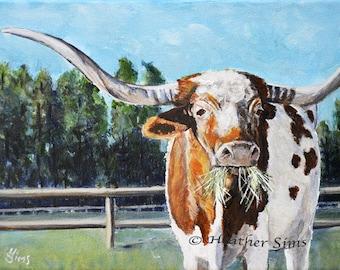 Texas Longhorn cow art print, cow painting giclee, rustic wall art cow print, farmhouse decor, farm art, rustic home decor, Sims