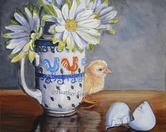 Polish pottery mug of flowers with baby chick, kitchen art print, Kitchen wall decor, chicken art, still life art, farmhouse decor, Sims