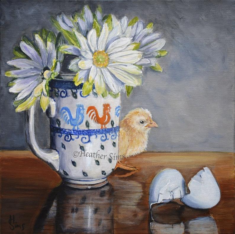 Polish pottery mug of flowers with baby chick kitchen art image 0