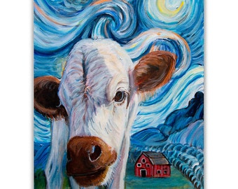 Cow Art Print for Farmhouse wall decor, Starry Night Van Gogh cow painting for modern farmhouse kitchen farm animal art, mat options