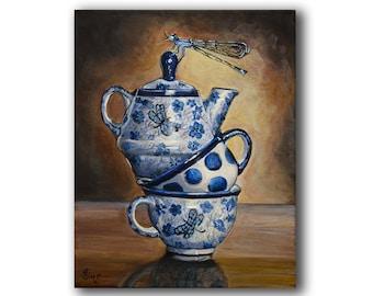 Boleslawiec Polish Pottery Dragonfly Stacked Teacup Wall Art Print, Coffee Kitchen Decor Giclee, Rustic Farmhouse Heather Sims