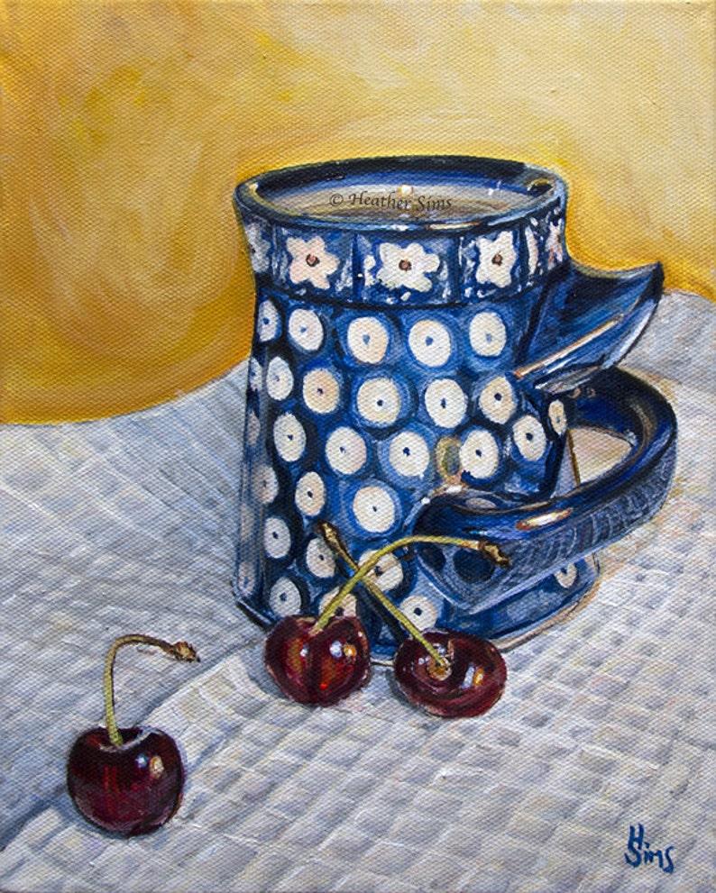 Poland pottery Polish Pottery mug still life art cherry image 0