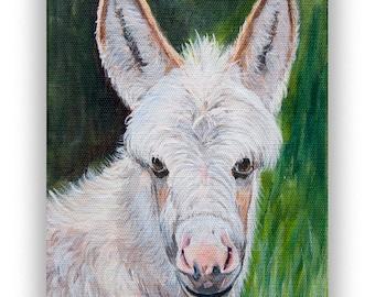 Donkey art print, farmhouse decor, farm animal art prints, miniature donkey rustic home and barn decor, matted print option