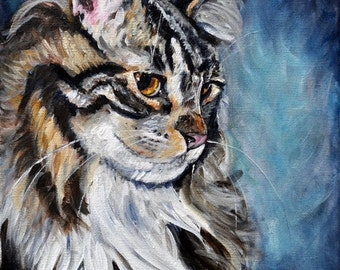 Maine coon cat, fine art giclee Print, wall decor, gift idea by Heather Sims ,Size and matting OPTION