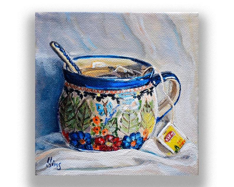 Polish Pottery mug still life tea art print kitchen art art image 0
