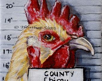 Rooster art print, mug shots, giclee,, wall art, humorous, farmhouse decor, gift idea,  Mat OPTION Heather Sims