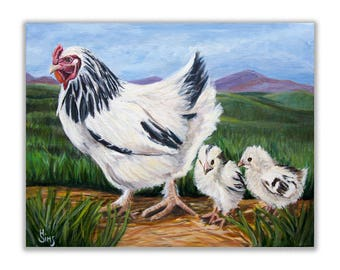 Chicken Painting art print, Farmhouse Wall Decor, Kitchen Country Home Decor, rustic home decor, rustic wall art, matted options