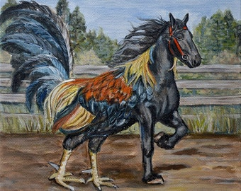 Rooster art meets Horse art giclee  Print ,mythical creatures,greek mythology,Hippaelectryon,kids wall art,kids room,mat option