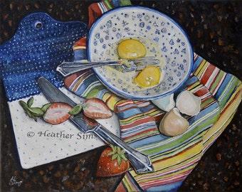 Polish Pottery blue and white kitchen art print, Boleslawiec pottery bowl, food art kitchen Print, eggs still life painting, farmhouse decor
