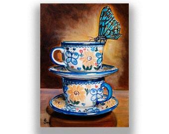 Boleslawiec Polish pottery Butterfly Wall Art Print , Coffee Kitchen Decor Giclee Print,  Rustic Farmhouse Kitchen Decor, Heather Sims