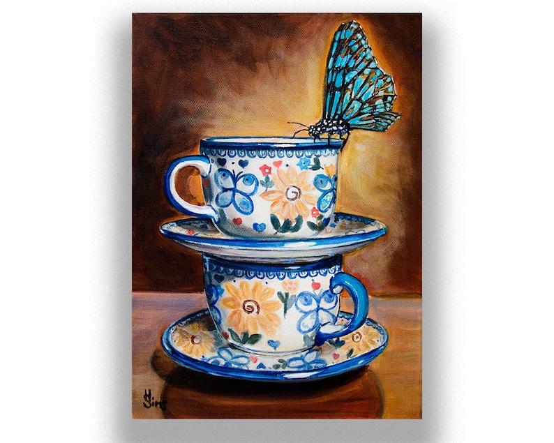 Boleslawiec Polish pottery Butterfly Wall Art Print  Coffee image 0