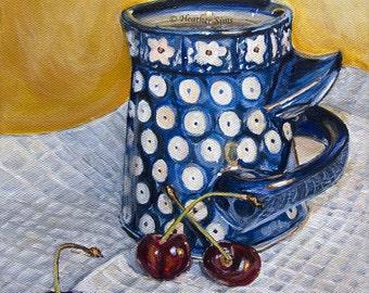 Boleslawiec pottery, Polish Pottery mug, fruit cherries still life painting, yellow blue and white kitchen wall art, 8x10 canvas painting
