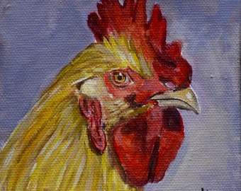 Rooster fine art glicee print, chicken art portrait, chicken decor for farmhouse, gift idea, matting option,  Heather Sims
