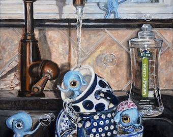 Boleslawiec Polish Pottery mug, kitchen art print, still life art, nursery wall art, kitchen print, pop surrealism, still life painting