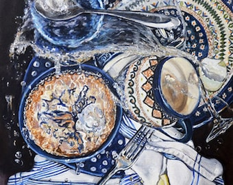 Polish Pottery mug, kitchen art print sink still life art for kitchen print, kitchen wall decor, Poland pottery print, mat option