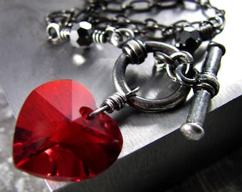 Red Heart Necklace, Swarovski Crystal Red Heart Pendant with Black Chain, Valentine's Gift, Punk Rock Girl, Gothic Goth Jewelry, Tough Love
