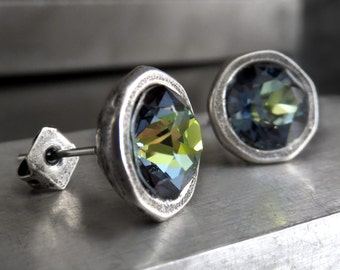 Blue Green Yellow Crystal Stud Earrings, Swarovski Crystal with Large Antiqued Silver Cast Bezels, Modern Crystal Stud Lever Back Earrings