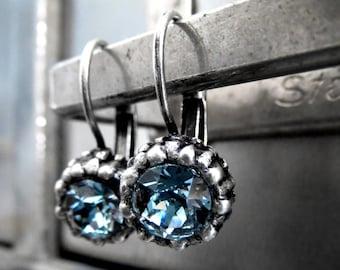 SALE - Blue Swarovski Crystal Sea Urchin Earrings, Ocean Inspired Nature Earrings, Small Petite Blue and Antiqued Silver Leverback Earrings