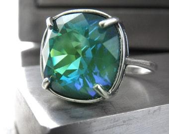 Emerald Ghost Crystal Ring, Translucent Green Swarovski Crystal Ring with Blue Aqua Flash, Silver Adjustable Ring, May Birthstone 4470