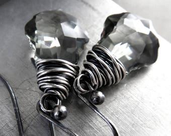 Black Diamond Crystal Earrings, Grey Gray Baroque Swarovski Crystal, Wire Wrapped Oxidized Sterling Silver, Modern Dark Gothic Goth Jewelry