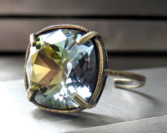 Earthy and Ethereal Swarovski Crystal Ring: Army Green, Olive Drab, Soft Yellow, Slate Blue on Antiqued Brass Adjustable Ring Band 4470