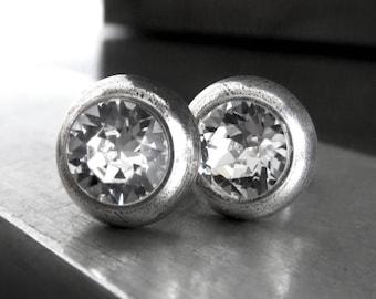 Ultra Modern Clear Crystal Silver Stud Earrings - Clear Swarovski Crystal Unisex Silver Post Earrings - Modernist Minimalist Silver Jewelry