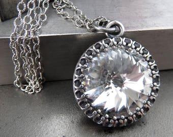 Swarovski Crystal Clear Crystal Rivoli Pendant Necklace, Vintage Style Wedding Bridal Jewelry, Antiqued Silver Crown Bezel - Royal Wedding