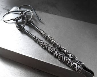 CHAOS - Oxidized Sterling Silver Long Earrings - Wire Wrapped Silver Stick Earrings - Architectural Art Minimal Contemporary Modern Jewelry