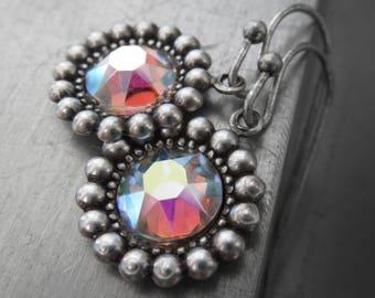 Swarovski Crystal AB Earrings, Aurora Borealis Rhinestone, Shimmer Iridescent Vintage Style Bridesmaid Jewelry, Bridesmaid Earrings