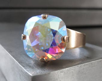 Swarovski Crystal Ring with Clear AB Crystal, Soft Matte Gold Adjustable Ring - Multicolor Rainbow Iridescent Shimmer Pastel Colors, 4470