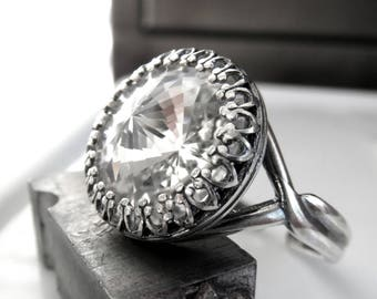 Clear Swarovski Crystal Rivoli Ring, Antiqued Silver Vintage Style Crystal Ring, Adjustable Ring Band, Clear Crystal Wedding Promise Ring