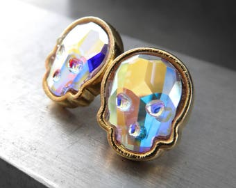 Iridescent Crystal Skull Stud Earrings in Swarovski Crystal AB, Gold Tone Bezels on Post Earrings, Goth Gothic Halloween Jewelry, Unisex